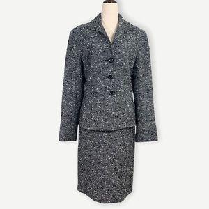 LAFAYETTE 148 NY Sz 10 Jacket & Skirt Black Tweed
